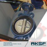 Wafer Type Cast Iron Rubber Lined Butterfly Valve