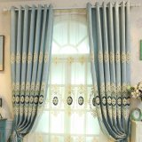 New European Style Applique Embroidery Blackout Window Curtain (11F0048)