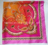 2017 Hot Selling Pink Flower Printing Silk Foulard (HWBS002)