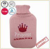 Hot Water Bottle with Crown Design Knitted Cover