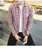 Customize High Quality Cotton Long Sleeve Oxford Cloth Man's Plaid Shirt of Round Neck