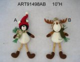 Reindeer and Bear Ornaments with Button Legs, Christmas Decoration