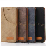 Jeans Retro Leather Wallet Cell Phone Case for iPhone