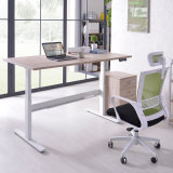 Electric Height Adjustable Walnut L Shaped Desk Table