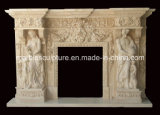 Beautiful Statue Carved Luxury Marble Fireplace with Flowers (SY-MF176)