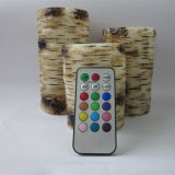 Birch Battery Operated Pillar Candle with 18 Keys Remote