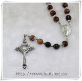 Hot Sell Europe Style Stone Catholic Crucifix Religious Rosary 8mm Natural Colour (IO-cr364)