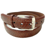 China Factory Manufacture Fashion Braid Grain Leather Belt for Men