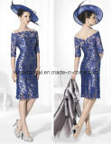 Blue Lace Sheath Mother of Bride Dress Evening Dresses Z4009