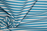 Turquoise/White Stripes 60 Cotton 40 Polyester Twill Yarn Dyed Fabric