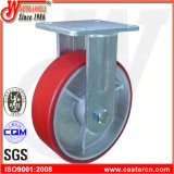 "6""X2"" Heavy Duty Red PU Rigid Caster Wheel"