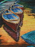 Boat and River Hand-Cut Crystal Art Mosaic (CFD148)