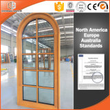 Solid Pine Wood Larch Wood Window Grille Round-Top Casement Window, Ultra-Large Double Glass Grille Window