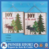 Wooden Hanging Ornaments with Joy and Deer Design for Christmas Decoration