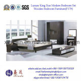 Black Color Ikea Home Furniture MDF Bedroom Sets (F17#)