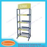 Double Side Wire Basket Floor Standing Displays Racks