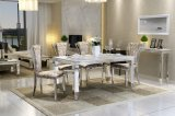 Home Furniture Marble Top Stainless Steel Frame Dining Table Set