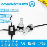 Markcars 60W T8 LED Car Headlight with Small Fan