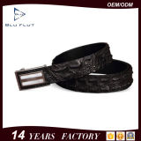Fashion Luxury Embossed Logo Genuine Black Alligator Leather Buckle Belts