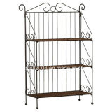 Three Tiers Metal Shoe Rack with Wood Shelf Steel Rack with Ce (G-SR09)