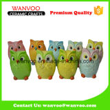 Hand-Painted Ceramic Piggy Bank in Owl Shape of Halloween Holiday Gift