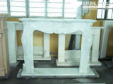 Granite/Marble Statue Fireplace Mantle/Mantels with Electric Fireplace for Indoor (SC033)