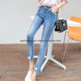 High Quality Slim Denim Ripped Ladies Ninth Jeans Women Trouser