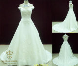 Top Quality Factory Made French Lace Appliqued Princess Wedding Dresses