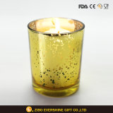 Glass Candle Holder for Decoration with Plating Colors