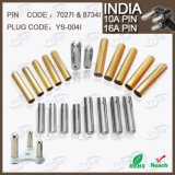 8734 7034 7.0mm 8.7mm 15/16AMP South Africa India Plug Pin with 10/16A Crimping Brass Pin Hollow Solid