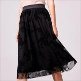 Black Floral Flocking Elastic Waist Grenadine Skirt
