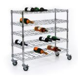 5 Tiers Adjustable Store Mobile Iron Wine Display Rack (WR903590A5CW)