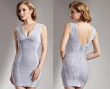 Woman Silver V-Neck Sleeveless and Sexy Short Tight Backless Dress