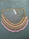 Faceted Stone & Bead Multi Row Threaded Necklace Costume Jewelry
