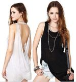 Wholesale Fashion Ladies Tops Back Cross Cotton Women Blouse