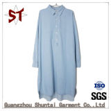 Fashion Ladies Casual Long Shirt Denim Dress with Cotton