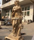 Beige Marble Garden Seasons Lady Sculptures