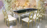 Foshan Luxury Titanium Dining Tables with Oval Round Metal Back Dining Chair for Banquet Wedding