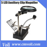 5 LED Auxiliary Clip AC/DC Interchangeable Magnifier