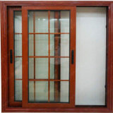 Latest Home Wooden Tinted Aluminum Frame Glass Sliding Reception Window Design