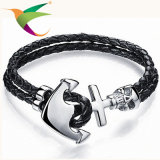 Stlb-17011013 Leather Woven Stainless Steel Bracelet Masonic Jewelry