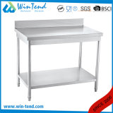 Stainless Steel Round Tube Shelf Reinforced Robust Construction Solid Working Table with Backsplash and Height Adjustable Leg