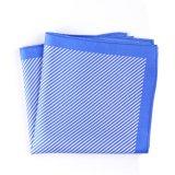 Fashionable Blue Silk Polyester Stripe Printed Pocket Square Hanky Handkerchief