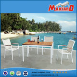No Folded Outdoor Furniture Dining Table Set with Teak Table and Fabric Chair Set