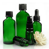 Factory Delivery Green Glass Dropper Bottles with Closures Made in China