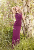 Pleated Bodice Long Sleeve Mesh Bridesmaid Dress