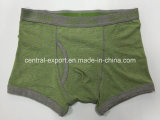 New Style Melange Green Men′s Boxer Short Underwear with Yarn-Dyed Stripe and Opeing