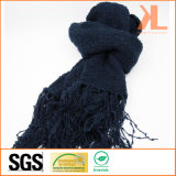 Acrylic Fashion Winter Warm Navy Knitted Scarf with Fringe