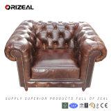 Luxury Heavy Wax Leather Chesterfield Sofa (OZ-SF-007-1)