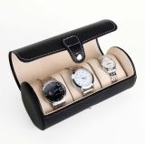 Leather Watch Box for 3 Watches Cylinder Watch Box